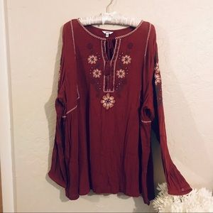 Sonoma Maroon embroidered long sleeve top 2X